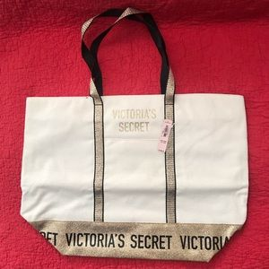 Victoria Secret Canvas Tote Bag Beige Sparkle Gold